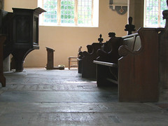 pulpit, prayer desk, benches