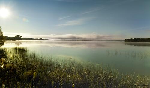 morning sky sun mist lake green fog clouds mi canon reflections reeds michigan illusions petoskey crookedlake route31 efs1755mmf28isusm canoneosrebelt1i fogburningoff disapatingmist