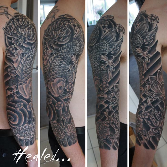 be12b9dad ... Japanese koi three quarter sleeve tattoo   by Chris Hatch Tattooist