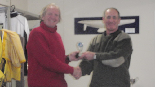 Ian Wallace receiving from Will Perry the Senior River Race Trophy | by PLSC (Panmure Lagoon Sailing Club)