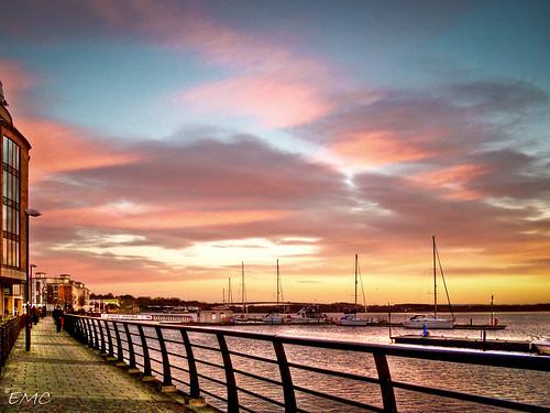 morning ireland sky people clouds port sunrise buildings river boats quay londonderry boardwalk northernireland derry ulster foyle promanade riverfoyle timberquay