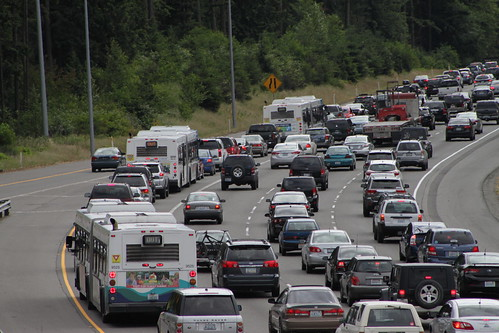 Deadheading buses in I-5 traffic
