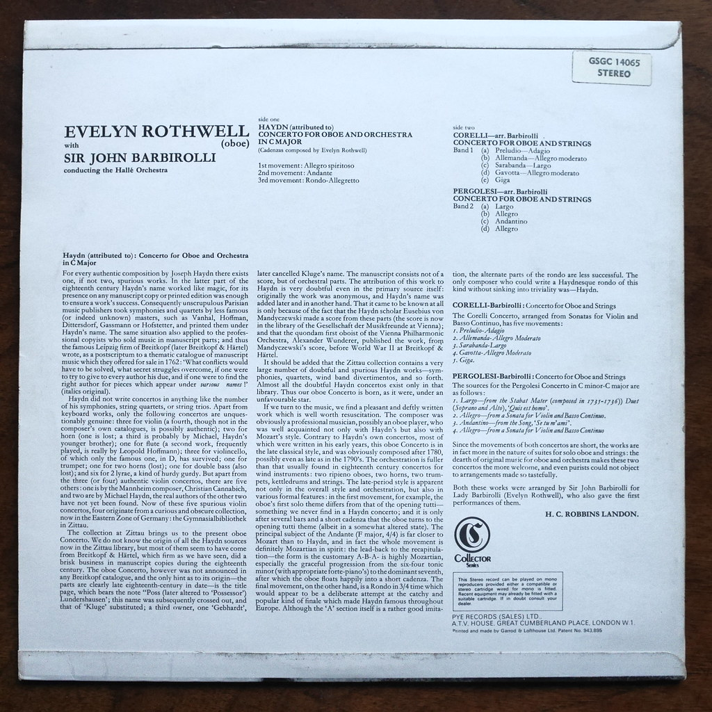 Backside Haydn, Corelli, Pergolesi - Oboe Concerti - Evely