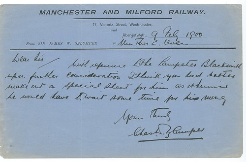 Manchester and Milford Railway Memo from Aberystwyth 1900   by ian.dinmore