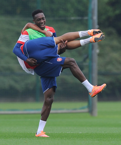Danny Welbeck and Alex Oxlade-Chamberlain of Arsenal