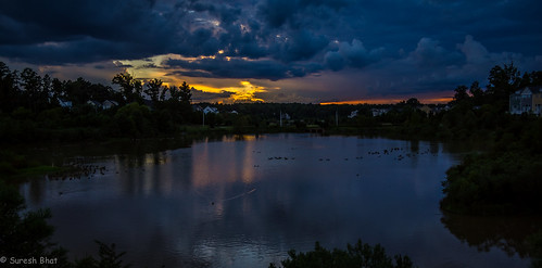 blue sunset birds clouds landscape pond unitedstates sundown cloudy northcarolina stormy cary wispy stormclouds wisps darkskies