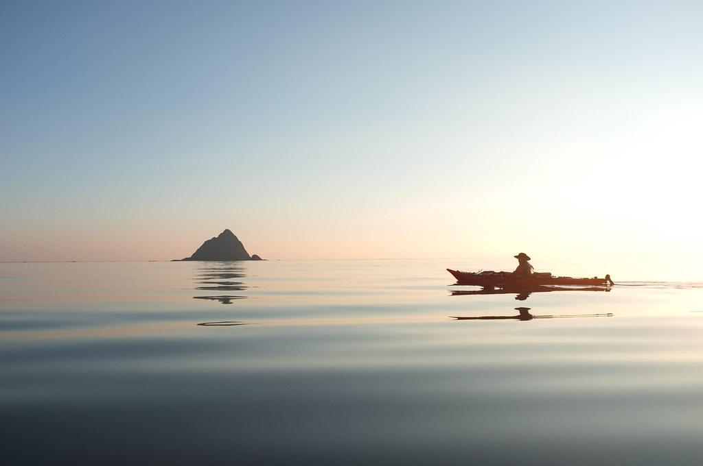 Norway paddling. Kayaking on the arctic ocean