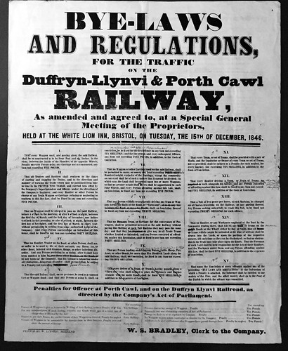 Duffryn-Llynvi & Porth Cawl Railway Bye Laws poster 1846 | by ian.dinmore