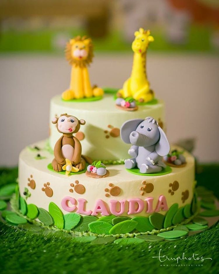 Pretty 2 Tier Animal Themed Birthday Cake With Soft Pastel Colours Perfect For