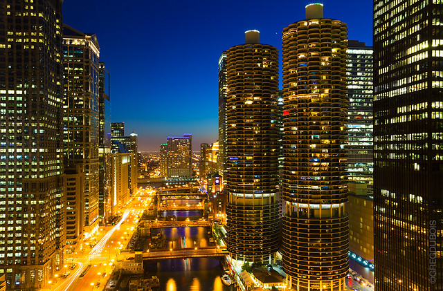 Blue Hour through Chicago Skyline - Chicago River, The Loop, Wacker Drive, and River North with Marina Towers