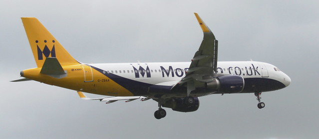 Monarch A320 G-ZBAA landing Runway 14 Leeds