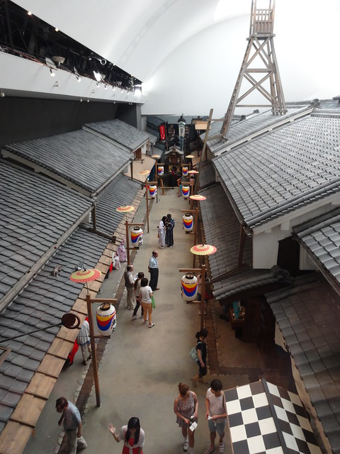 Looking down onto the festival street Museum of Housing and LIving Osaka Japan