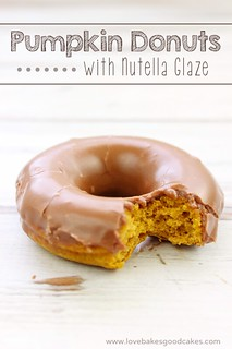 Pumpkin Donuts with Nutella Glaze - yum! Easy and delicious recipe! | by lovebakesgoodcakes