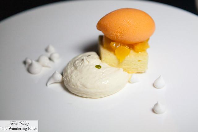 Carrot Sorbet, Cream Cheese Mousse, Orange Salad