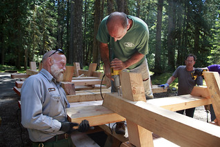 Volunteers building picnic tables | by Mount Rainier NPS