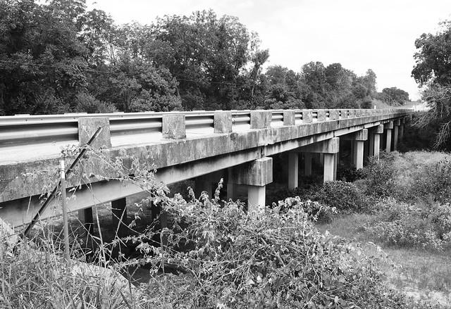Old US 90 Bridge over Sandy Fork Creek, Harwood, Texas 1409151303bw