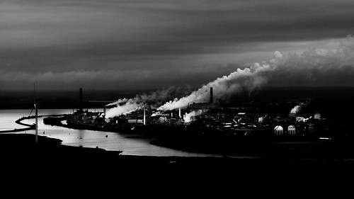uk england mersey runcorn cheshire chemical ici frodsham river industry industrial clouds fumes