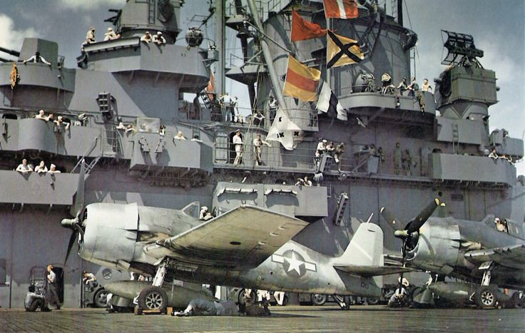 Crew of USS Yorktown and Hellcat fighters