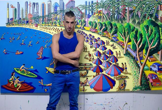 naive paintings tel aviv beach israeli painter artist artworks ציורים נאיביים של העיר תל אביב ציור נאיבי עכשווי אמנות נאיבית עכשווית רפי פרץ