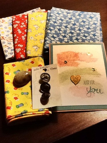My fantastic fat quarters from 30's swap, along with great gifts from Colleen Butler.  She even sent me a Petoskey Stone that her husband collects and polishes.   I love presents!! | by mamalisa196150