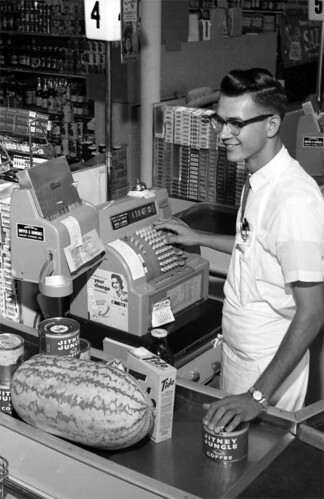Jitney Jungle checkout clerk Billy Barineau - Tallahassee   <p></p> | by State Library and Archives of Florida