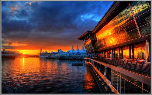 cruise orange canada reflection vancouver clouds sunrise harbor terminal brittishcolumbia