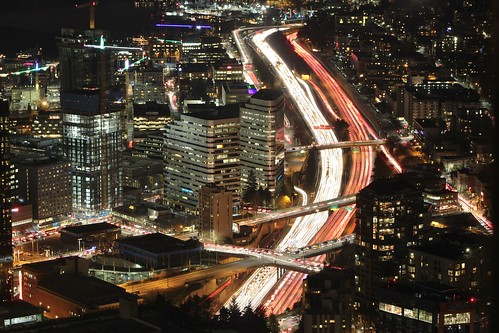 Interstate 5 in Seattle at night