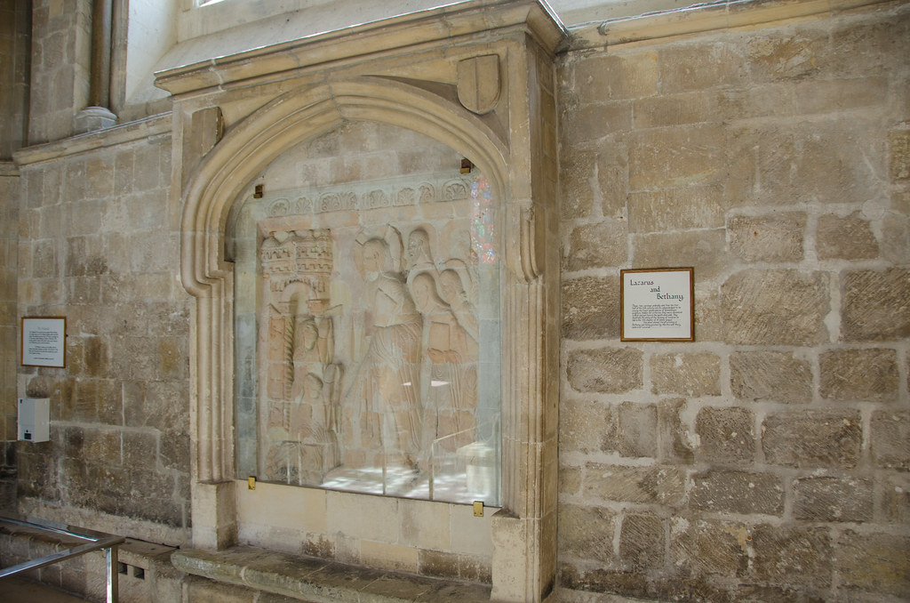 Chichester Cathedral - Lazarus & Bethany Carved Relief Sou