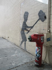 Banksy Sidewalk Wall Painting - Child Wielding Sledgehammer 8417