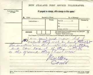 Waihi Strike Telegrams from Police Commissioner John Cullen, 9 November 1912 (5 of 5)