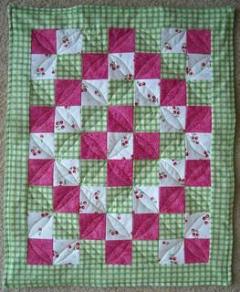 green cherry doll quilt