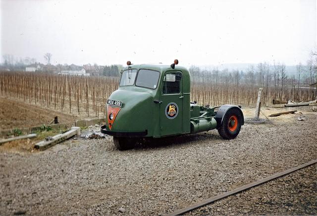 Scammel Scarab British Rail three wheeler unit MOA 499. Seen at the East Anglian Railway Museum Essex England 1991