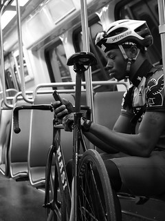 Biker on DC metro