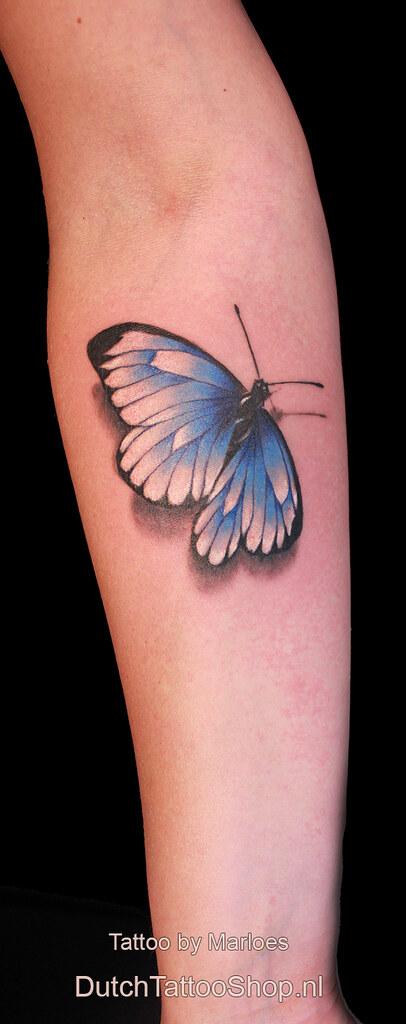 Witje Blauwtje Realistische 3d Vlinder Onderarm Tattoo Flickr