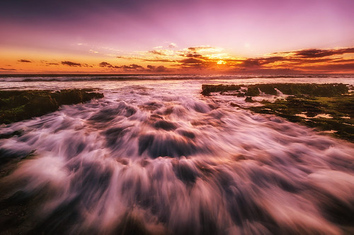 ocean sunset seascape water landscape wave