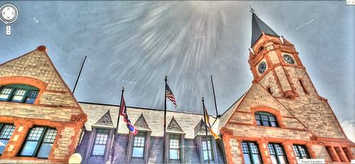 tower clock clocktower depot wyoming hdr cheyenne panamerican wyo photomatix gsv googlestreetview cheyennedepot panamericantrek