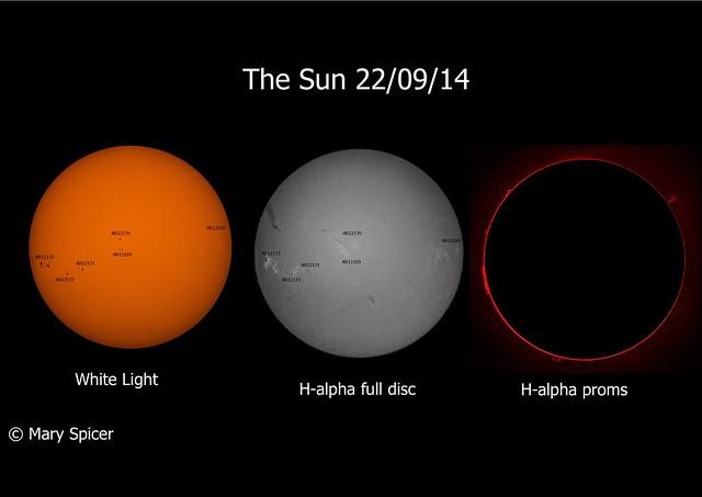 The Sun in White Light & H-alpha 22/09/14