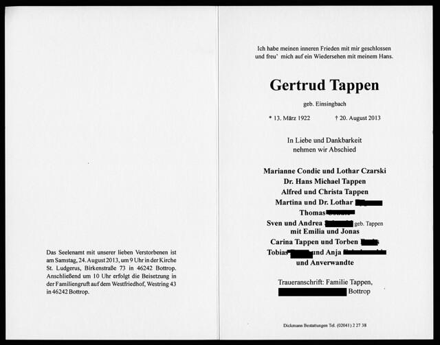 Todesanzeige Gertrud Tappen in Bottrop, 2013