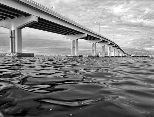 bridge sky blackandwhite bw usa cloud white black water architecture river landscape ir unitedstates florida cloudy infrared titusville centralflorida edrosack