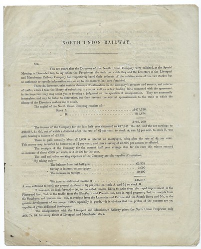 North Union Railway shareholders circular re purchase of the railway by the Liverpool & Manchester Rly. 1845 | by ian.dinmore