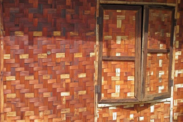 Bagan, Myanmar - Minnanthu Village House Wall & Window - Interwoven Bamboo Strips.