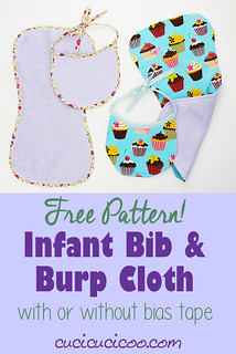 Free bib and burp cloth pattern (with/without bias tape)