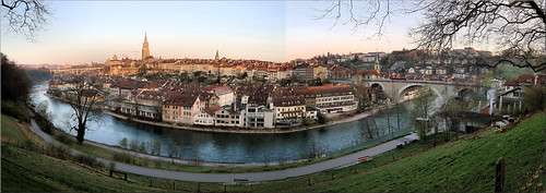 switzerland bern panorama sunrise river city inexplore