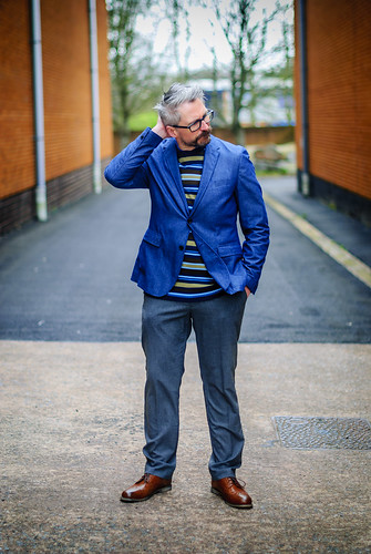 Smart menswear: Blue blazer \ striped sweater \ grey dress trousers \ brown brogues | Silver Londoner, over 40 style | by silverlondoner