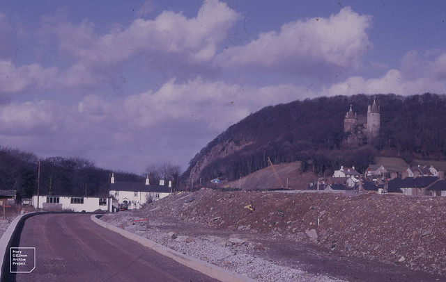 Castell Coch and Taff Gorge from south site of new unopened trunk road on 13 February 1971