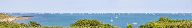 2014 Round the Island Race Panorama - East coast, Whitecliff Bay - IMG_0003