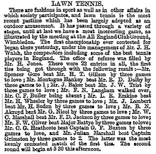 9th July 1877 - First Wimbledon tennis tournament | by Bradford Timeline
