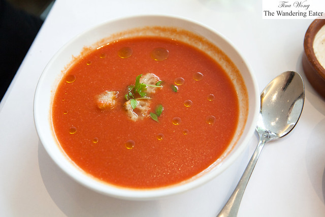 Andalusian gazpacho with baguette croutons, extra virgin olive oil