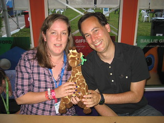 Cat Clarke, David Levithan, and Giraffe