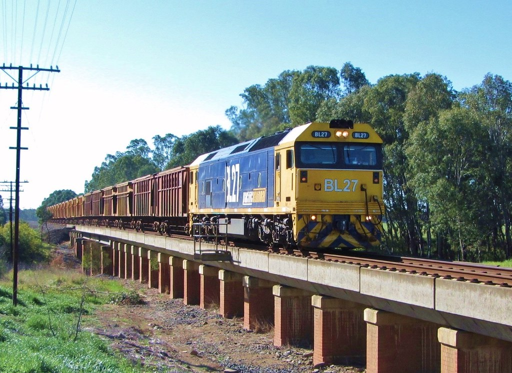 BL27 races past with the Mineral Sands train near Glenorchy, Vic by Adam Serena